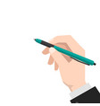 hand holds the pen vector image