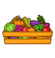 harvest of box with seasonal fruits vector image vector image