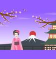 japanese girl in traditional kimono dress standing vector image vector image