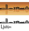 Ljubljana skyline in orange background vector image vector image