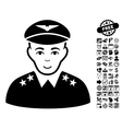 Military Pilot Officer Flat Icon With Bonus vector image
