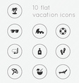 Modern flat icons collection of vacation theme vector image vector image