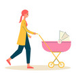 mother woman walking with bacarriage flat vector image vector image