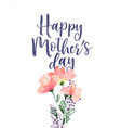 mothers day watercolor pink flower card vector image