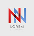nn logo letters with blue and red gradation vector image vector image