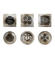 old shower drainage holes with rusty dirty covers vector image vector image