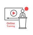 online training with linear spokesman vector image vector image