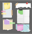 paper sheets with stationery set vector image