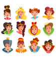 princess and queen heads set vector image vector image