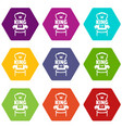 royal armchair icons set 9 vector image