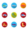 Shoes set icons in flat style Big collection of vector image vector image
