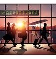 Silhouette people in the airport vector image