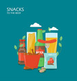 snacks to beer flat style design vector image vector image