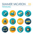 traveling flat icon set summer vacation vector image vector image