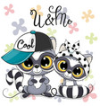 two cute cartoon raccoons boy and girl with cap vector image vector image