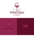 wine glass and vineyard logo and icon vector image