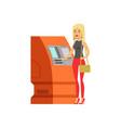 woman doing atm machine money deposit or vector image vector image