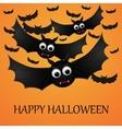 Halloween orange background with flying bats vector image