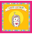 hedgehod birthday frame vector image