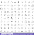 100 city icons set outline style vector image vector image