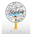 artist character with startup icons on white vector image