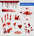 Blood Spatters Realistic Samples Transparent Set vector image vector image