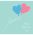 blue and pink balloons in shape heart vector image vector image