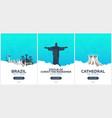 brazil rio de janeiro time to travel set of vector image vector image