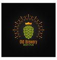 brewery logo with hop and crown on black vector image vector image