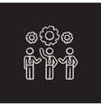 Businessmen under the gears sketch icon vector image vector image