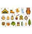 camping associated symbols set of vector image