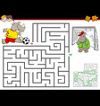 cartoon maze activity with rhino playing soccer vector image vector image