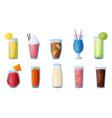 cold drinks cartoon ice tea and lemonade vector image