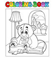 coloring book with teddy bear 2 vector image