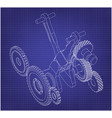 gears and crankshaft on a blue vector image vector image