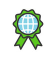 globe or planet earth icon on green badge filled vector image vector image