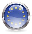 gloss button with eu flag vector image vector image