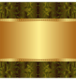 gold and green background with abstract ornaments vector image