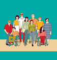 group people community with disabilities vector image