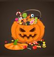 halloween candies in pumpkin bag sweet lollipop vector image vector image