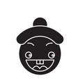 happy chinese emoji black concept icon vector image vector image
