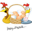 happy easter - hen in love hold basket with eggs - vector image