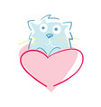 happy valentine day icon with cat vector image vector image