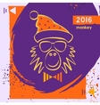 Hipster christmas red fire monkey Hand drawn vector image vector image
