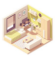 isometric teenager or student room vector image vector image