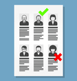 Job placement and hiring people - list of cv files vector image vector image