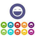 laughing emoticon set icons vector image vector image