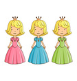 Little girl wearing princess costume vector image vector image
