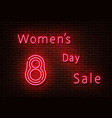neon womens day slae sign shoping light is vector image vector image