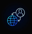 outsourcing outline blue icon or design vector image